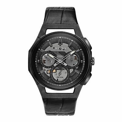 Bulova Men's CURV Collection Quartz Skeleton Black Multi Dial 43mm Watch 98A223