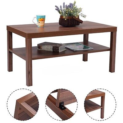 تربيزه جديد Wood Coffee End Table Rectangular Modern Living Room Furniture w/ Storage Shelf