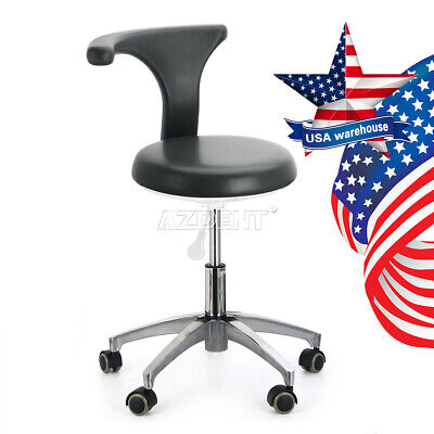 Dentist Dental Adjustable Doctor Assistant Stool Mobile Chair Pu Hard Leather