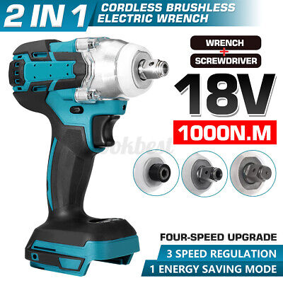 18V 1000Nm Electric Cordless Impact Wrench Screwdriver 1/2'' Brushless Driver AU