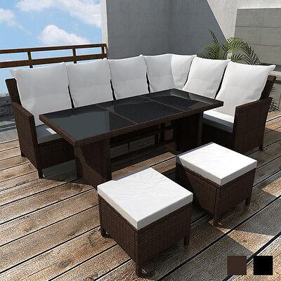 Poly Rattan Gartenmöbel Gartenset 8 Personen Lounge Sitzgruppe Gartengarnitur
