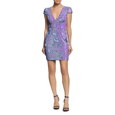 Dress The Population Womens Zoe Purple Sequined Party Cocktail Dress L BHFO 4960 Jeweled Party Dress