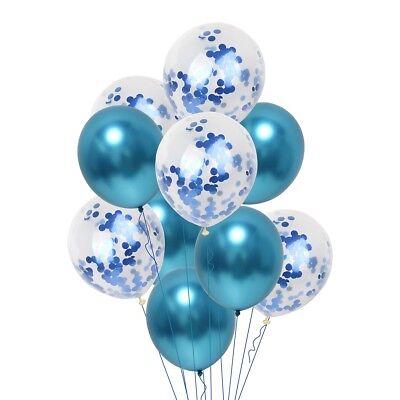 10Pc Blue Confetti Balloon Happy Birthday Ballon Gold Metal For Party Decoration (Happy Birthday Parties)