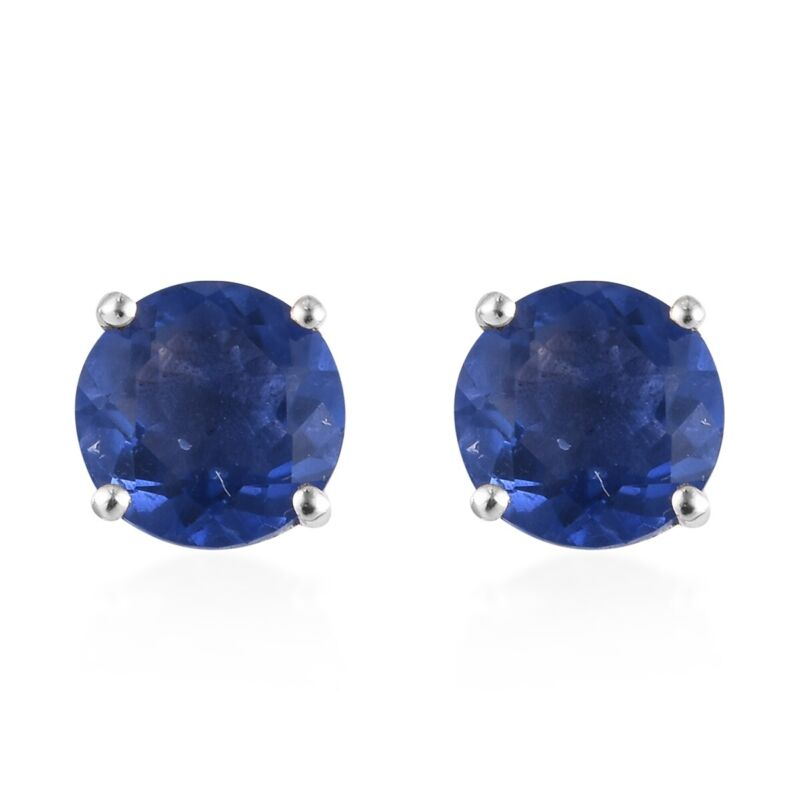Stud Solitaire Earrings 925 Sterling Silver Color Change Fluorite Jewelry Ct 2.9