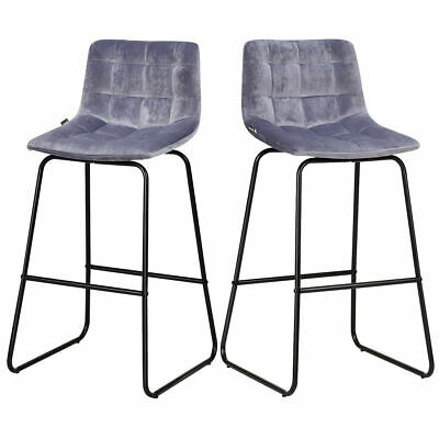 Set of 2 Velvet Bar Stools Pub Chairs  w/ Metal Legs Dining Kitchen Modern -