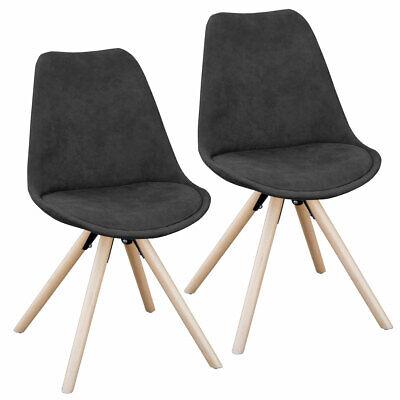 SVITA 2er Set Esszimmerstühle Küchenstühle Polsterstuhl Stühle Retro SCHWARZ