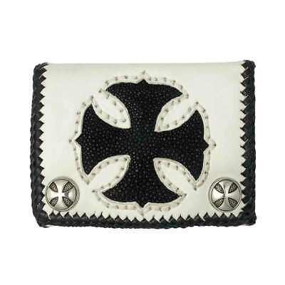 Short White Cowhide Leather Trifold Wallet w/Black Stingray Cross - W40WB White Stingray Cross