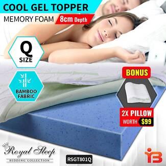 Buy Cool Gel Memory Foam Queen sized Mattress Topper With Pillows