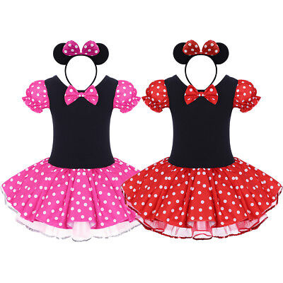 Christmas Minnie Mouse Costume (Minnie Mouse Dress Costume Girls Kids Polka Dot Party Birthday Fancy)