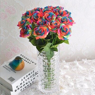 1/5/10pcs Rainbow Artificial Rose Flower Wedding Home PartyBridal Bouquet - Rainbow Flower