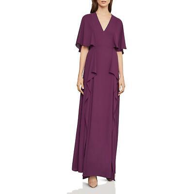 BCBG Max Azria Womens Purple V-Neck Flounce Evening Dress Gown 2 BHFO 1810