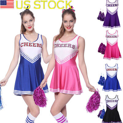 Sexy High School Cheerleader Costume Cheer Girls Uniform Party Outfit w/ Pompoms](Cheerleader Costume Women)