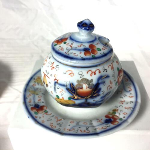 Antique 18th c. Bow Porcelain Gaudy  Kakiemon  Oriental Design   Mustard Pot