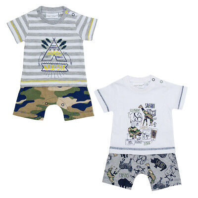 Baby Boys Safari Print Romper Suit Cotton Rich Summer Clothes Newborn-12 Months