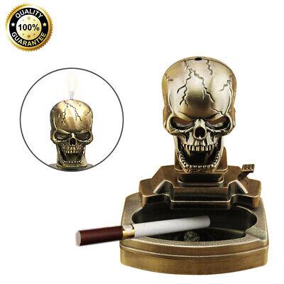 Halloween Decor Skull Shape Cigarette Ashtray Novelty Ash Tray w/ Cigar Lighter