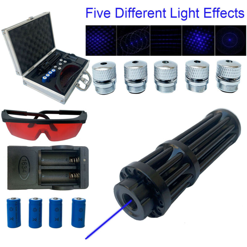 Blue Visible Beam Light Powerful Laser Pointer W/ 4×16340 Batteries+Box 450nm US