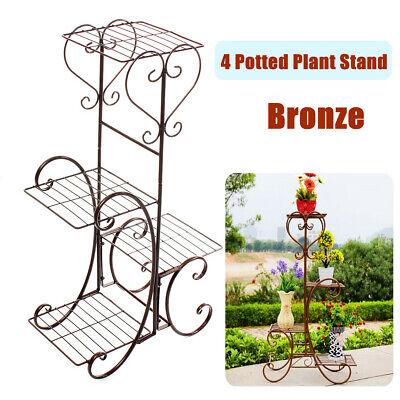 4 Tier Metal Plant Flower Pot Stand Display Shelf Home Garden Indoor Outdoor -