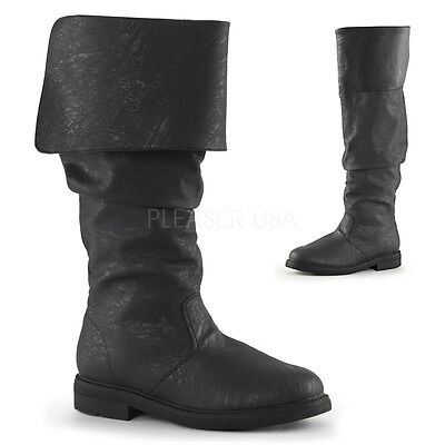 Black Mens Tall Pirate Boots Fold Over Renaissance Fair Costume Cosplay 12 13 - Black Pirate Boots
