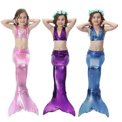 Kids Girls Fish Tail Swimmable Monofin Tail Swimming Bkini set Costumes Flippers