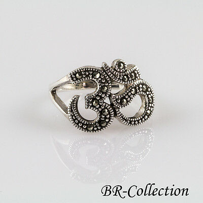 Sterling Silver Om Aum Ring With Swiss Marcasite
