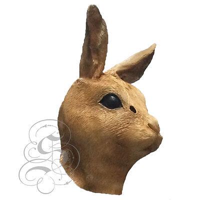 Latex Ganzer Kopf Tier Braun Kaninchen Hare Hochwertig Kostüm Karneval Masken