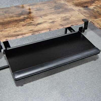 Keyboard Tray Under Desk Clamp-on Retractable Platform Computer Drawer