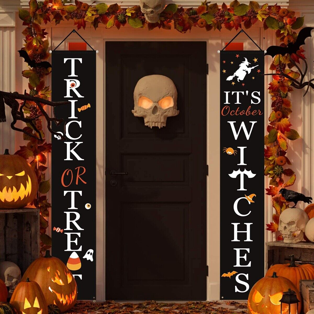 1Pair Trick OR Treat Couplet Banner Halloween Indoor Outdoor Hanging Props Decor Holiday & Seasonal Décor