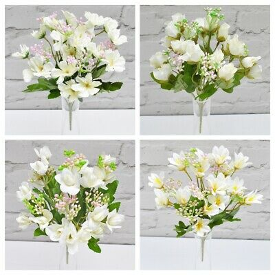 ARTIFICIAL FLOWERS MINI VINTAGE IVORY & PINK BUNCH 4 STYLES Rose Blossom