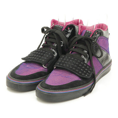 AUTHENTIC GUCCI 2013 MENS STUDDED HIGH TOP SNEAKERS PURPLE GRADE AB USED -HP