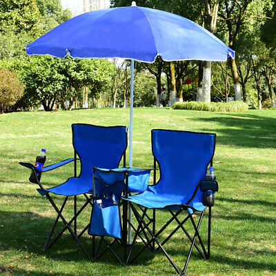 Portable Folding Picnic Double Chair W/Umbrella Table Cooler Beach Camping Chair