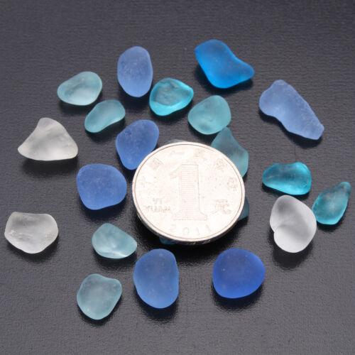 как выглядит sea beach glass 20 pieces mixed color lot bulk blue cobalt aqua jewelry use фото