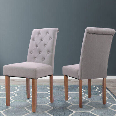 2 PC Solid Wood High Back Tufted Parsons Dining Chair Set for Dining Room - Back Parsons Dining Chair