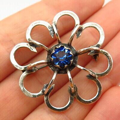 935 Silver Vintage Sapphire-Tone Rhinestone Floral Pin Brooch