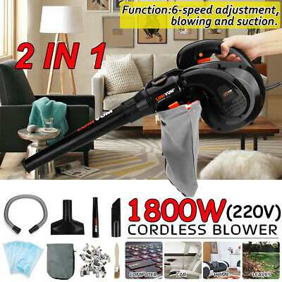 1800W Handheld Air Blower Vacuum Car Garden Dust Leaf Cleaner Vacuums