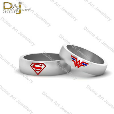 Superhero Theme Superman Band Wonder Woman Ring Matching Wedding Band Set - Superman Wedding Ring Set