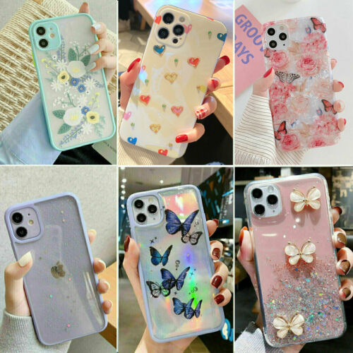 For iPhone 13 12 11 Pro MAX XR 7 8 Case Glitter Shockproof Bumper Hybrid Cover