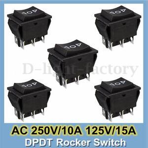 5Pcs AC 250V/10A 125V/15A 6-Pin DPDT Power Window Momentary Rocker Switch 12V
