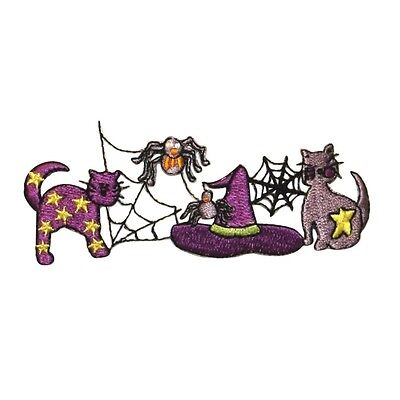 ID 0917 Halloween Scene Patch Cats Spider Witch Hat Embroidered Iron On - Spider Hat Craft Halloween