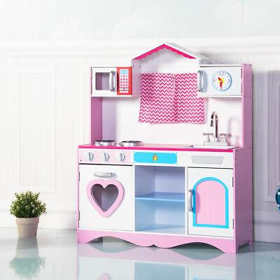 Wooden Kitchen (Wood Kitchen Toy Toddler Wooden Playset Kids Cooking Pretend Play Set Gift)