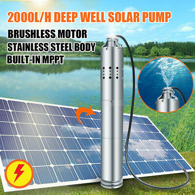 24v 2000lh Solar Powered Water Pump Farmranch Submersible Bore Hole Deep Well