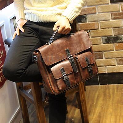 Men Leather Briefcase Backpack Messenger Shoulder Handbag Crossbody Laptop Bag