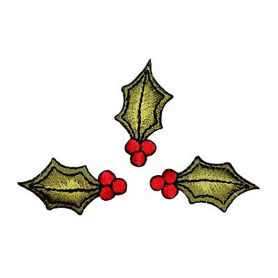 ID 8208B Lot of 3 Holly Leaves With Berries Patches Embroidered Iron On (3 Leave Holly)