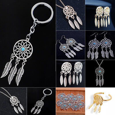 Feather Tassels Charm Dream Catcher Pendant Necklace Keychain Keyring Women Men Dream Charm Necklace