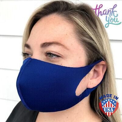 Face Mask Royal Blue Color Contoured Fashion Triple Layered Unisex Face Cover