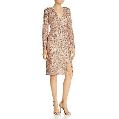 Adrianna Papell Womens Sequined Surplice Party Cocktail Dress BHFO 5894 Jeweled Party Dress