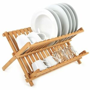 WOODEN KITCHEN SINK DISH DRAINER FOLDING WOOD PLATE CUPS RACK DRYING FOLDABLE