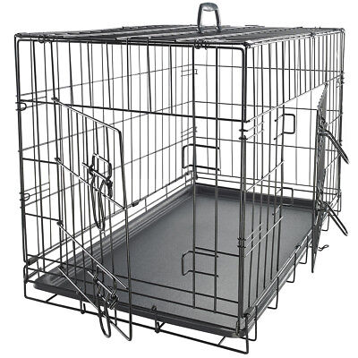 "48"" Dog Crate 2 Door w/Divide w/Tray Folding Metal Pet Cage Kennel House"