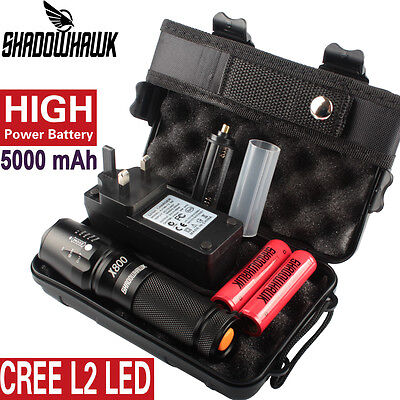 8000LM X800 Shadowhawk Flashlight CREE L2 LED Torch 2PCS 5000mAh Battery HOT!!!