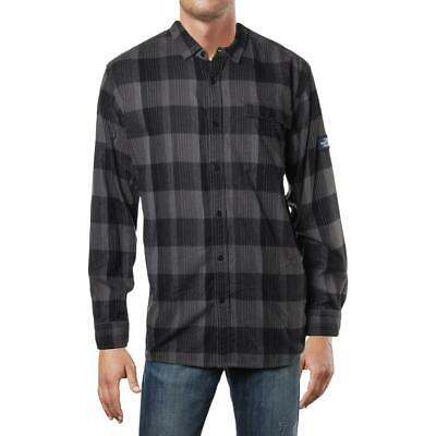 The North Face Mens Black Standard Fit Plaid Button-Down Shirt XL BHFO 6682