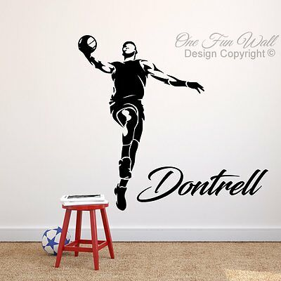 Basketball Player NBA Wall Decal Personalized Name Vinyl Sticker Sports Décor   - Personalized Basketball